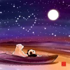 Commission: Waves of My Heart – Panda and Polar Bear Cute Panda Cartoon, Polar Bear Cartoon, Polar Bear Drawing, Love Is Cartoon, Panda Wallpapers, Cute Cartoon Wallpapers, Polar Bear Illustration, Panda Craft, Cute Panda Wallpaper