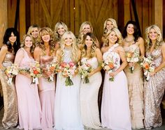 blush and gold bridesmaid dresses - Google Search