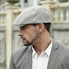 22565c815b4 Gentleman flat cap stripe design mens hats for spring