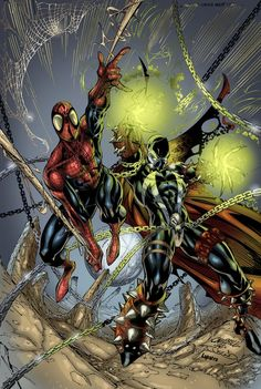 Spawn & Spiderman by J Scott Campbell Marvel Comics, Hero Marvel, Spawn Comics, Marvel Vs, Captain Marvel, Scott Campbell, Comic Book Heroes, Comic Books Art, Crossover