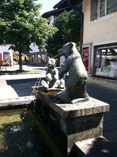 Two bears fountain in Garmisch Germany
