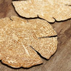 Custom engraved tree ring coasters made from laser cut wood- set of 4. $40.00, via Etsy.