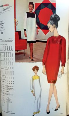 Yves Saint Laurent from the pages of Vogue Patterns catalogs. 1966 catalog. #voguepatterns #yvessaintlaurent