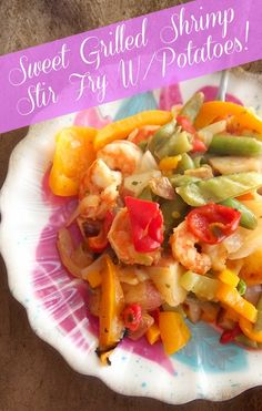 Sweet Grilled Shrimp Stir Fry  Garden Vegetable Medley Bag (Green Giant Steamers), 2 Orange Bell Peppers. 2c Cooked Shrimp, 2 TBsp Hawaiian Marinade (Lawrys), ½ Onion ~ Makes 2 large portions