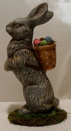 Hand Cast & Painted Chalkware Easter Rabbit by LauralCreek on Etsy, $28.50