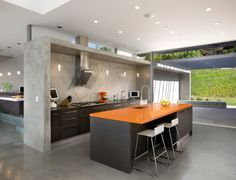 Concrete kitchen.