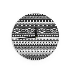 Kess InHouse Nika Martinez 'Black Hurit' Gray White Wall Clock