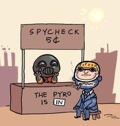 TF2 Pyro Spycheck Peanuts Crossover