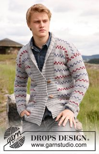 "Cedric - Knitted DROPS jacket for men in ""Alaska"". Size: S - XXXL. - Free pattern by DROPS Design"