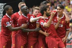 Liverpool's Egyptian midfielder Mohamed Salah is mobbed by teammates as he celebrates scoring his team's third goal during the English Premier League football match between Watford and Liverpool at Vicarage Road Stadium in Watford, north of. Liverpool Live, Arsenal Liverpool, Premier League Goals, Premier League Matches, Arsenal Goal, Daley Blind, Premier League Fixtures, Kenny Dalglish, England