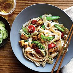 Chinese Noodle Salad with Sesame Dressing | MyRecipes.com #myplate #protein #vegetable