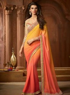 #Yellow and #Peach Shaded #PartyWear #Saree Features georgette saree with matching blouse.
