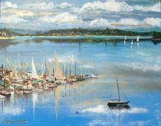 """""""Inner Quartermaster Harbor""""   16x20"""" Original Acrylic on Canvas   by Christy Marsh www.christymarsh.net"""