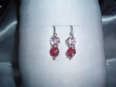 Chaos Wire Wrapped Earrings with Pink Glass Beads