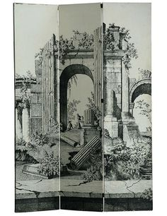 "Love it! So Unique. A 1940s Italian lithographed-wallpaper screen pictures classical architectural ruins, 72"" w. x 98"" h.; available from 1stdibs, $3,800. 1stdibs.com"
