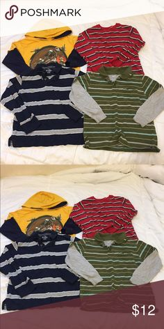 Lot of 4 Boys long sleeve shirts Size: 5 Bundle of 4 Boys long sleeve shirts Size: 5   Yellow /blue hoodie tshirt with motorcycle/dirt bike theme, tag was taken off since it bothered my son. He wore it at 5 yrs old.   Blue/gray stripped collared shirt from the Children's Place, size  S 5/6.   Red/multi-stripped shirt, brand- Sonoma, size M -5/6.   Green/gray/blue stripped collared shirt from Old Navy, size S.  All in good condition with normal wear from wash.  Questions? Please ask before…