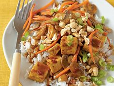 Szechuan-Style Tofu with Peanuts | Spice up your supper with this Asian-flavored vegetarian dish. For meat-lovers, feel free to substitute chicken for tofu.