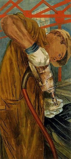 Ben Shahn (American artist, 1898-1969) The Riveter (mural study, Bronx, New York central postal station), 1938