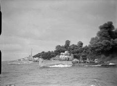 HMS Fury and Ashanti laying smoke, 1942.