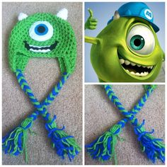 Crochet Monsters Inc Mike Wazowski Earflap Beanie Hat - Etsy $15.00