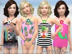 PZC Girls Swimwear 02 by Pinkzombiecupcakes at TSR via Sims 4 Updates