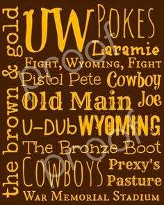 University of Wyoming Cowboys Subway Art Print 8x10