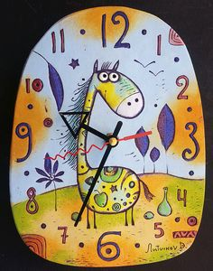 ceramic wall clock Fairy Horse on a Hill by fishinthecloud on Etsy