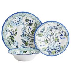 Reminiscent of classic blue-and-white patterned dinnerware, our Classic Garden Collection is enriched with shades of green and opulent blooms. While obviously pretty, it's practical, too. Made of melamine, it's shatter-resistant and perfect for outdoor use. It's hard to know who'll be more impressed—you or your guests.