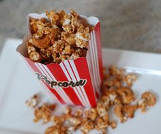 Cinnamon Glazed Popcorn Mix from 100 Days of Real Food. Kids didn't care for the cashews, but this was a light delicious snack that combines sweet and salty without the guilt. Popcorn Mix, Popcorn Cart, Sweet Popcorn, Popcorn Kernels, Microwave Popcorn, Popcorn Recipes, Snack Recipes, Dessert Recipes, Gourmet