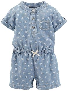 Carter's Baby Girls' Romper (Baby) - Denim -- Trust me, this is great! Click the image. : Baby clothes