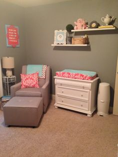 Example: Pink/Aqua/Gray combo - this has a bright pink and soft aqua (my combo will be the other way around), but another example of combo