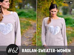 """""""Raglan-Sweater-Women"""" ist ein Schnittmuster mit Anleitung für einen gemütlichen Raglan-Sweater im Oversized-Look. Dieser Pullover ist ein Every-Day-Basic. Je nach Stoff kann er von schick bis..."""