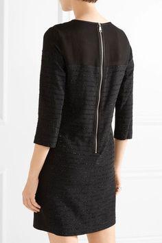 Karl Lagerfeld - Tinsel-trimmed Paneled Crepe, Chiffon And Satin Mini Dress - Black - IT38