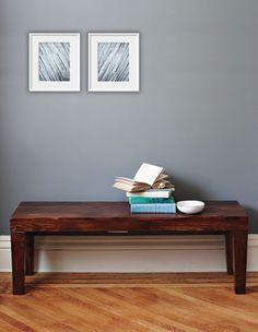 Color Idea: blue gray walls, dark wood table, white/silver picture frames