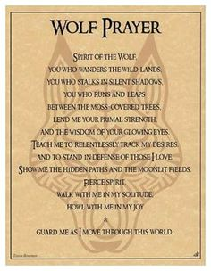 Pagan Parchment Poster - Wolf Prayer - Travis Bowman