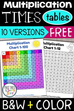 Free printable multiplication charts - this collection for free printable m Multiplication Table Printable, Multiplication Activities, Multiplication Tables, Math Worksheets, Math Activities, Math Rotations, Numeracy, Math Games, Maths