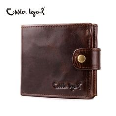 Cobbler Legend Real Cowhide Leather Bifold Clutch Men's Short Wallets Purses Male ID Credit Cards Holder Carteira Masculina 2016