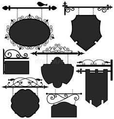 Signage Shop Sign Route Hanging Information Banner vector illustration