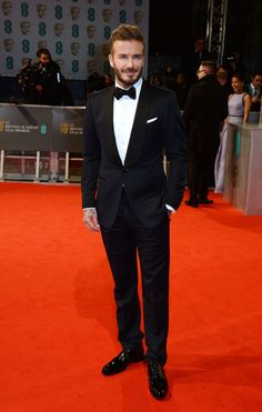 Pin for Later: Stars Go All Out on the BAFTA Awards Red Carpet in London David Beckham