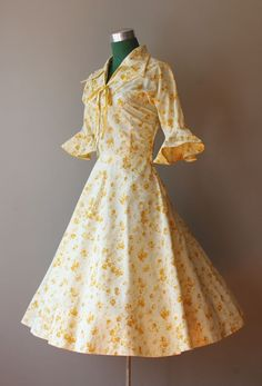 1950s golden garden party dress.