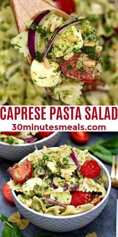 Caprese Pasta Salad is not just for the hot summer months. #caprese #capresesalad #capresepastasalad #pastasalad #30minutesmeals Easy Delicious Recipes, Easy Appetizer Recipes, Easy Salads, Healthy Salad Recipes, Easy Recipes, Healthy Food, Appetizers, Tasty, Wheat Pasta Recipes