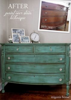 Migonis Home: Stain over paint for this beautifully antiqued finish.