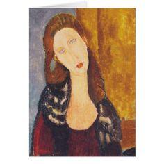 Jeanne Hebuterne portrait by Amedeo Modigliani Card - portrait gifts cyo diy personalize custom
