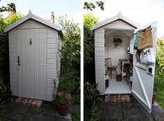 Cant get enough of the idea of having a small garden shed craft and sewing space. - Cant get enough of the idea of having a small garden shed craft and sewing space. Need a yard big e - Small Shed Plans, Small Sheds, Shed Office, Small Garden Office Shed, Craft Shed, Craft House, Shed Interior, Room Interior, She Sheds