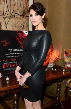 """sexyinleather: Gemma Arterton looks damn hot in a black leather dress while arriving for a special screening of her new movie """"Byzantium"""" Beautiful Celebrities, Beautiful Actresses, Gorgeous Women, Gemma Aterton, Gemma Christina Arterton, Non Blondes, Celebrity Beauty, Leather Dresses, Kate Beckinsale"""