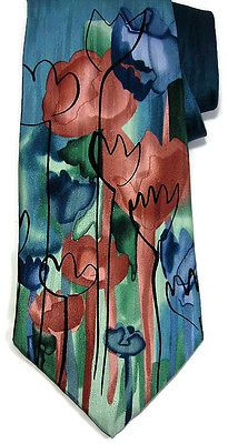J Garcia Limited Edition Collection 40 Red Meadow Mulberry Neckwear Necktie Tie