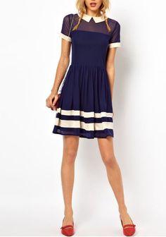 Contrast sleeve dress.