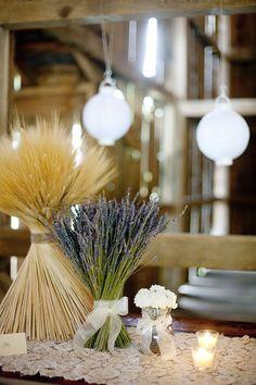 Oh my gosh. {lavender and wheat centerpieces} Lavender Wedding Centerpieces, Wheat Centerpieces, Diy Wedding Flowers, Floral Wedding, Wedding Decorations, Centerpiece Ideas, Ribbon Wedding, Burgundy Wedding, Bridal Flowers