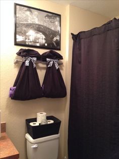 Cute way to hang towels for guest bathroom my home decor for Cute bathroom ideas for college