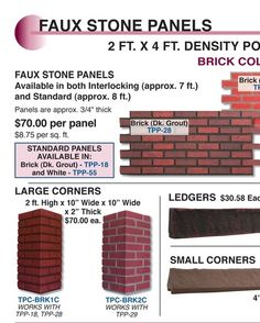 Faux Brick Faux Stone Panels, Plastic Industry, Faux Brick, Brick Flooring, Store Fixtures, Ceiling Tiles, Fireplace Surrounds, Wainscoting, Knobs And Pulls